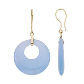 Blue Jade 14k Gold Hoop Drop Earrings