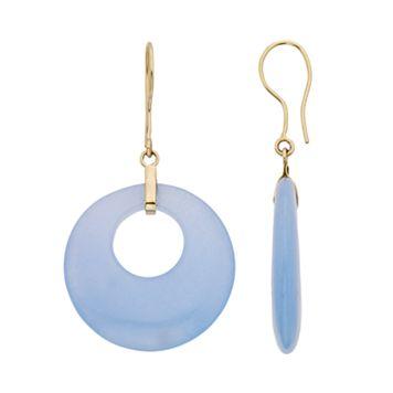 Blue Jade 14k Gold Hoop Drop Earrings