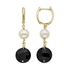 Freshwater Cultured Pearl & Onyx 14k Gold Drop Earrings