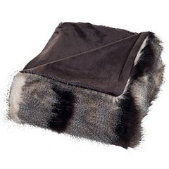 Portsmouth Home Luxury Striped Faux-Fur Throw