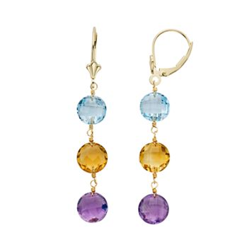 Gemstone 14k Gold Linear Drop Earrings