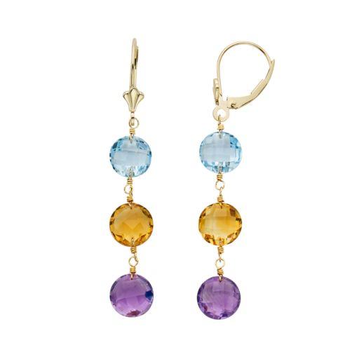 Gemstone 14k Gold Linear Drop Earrings