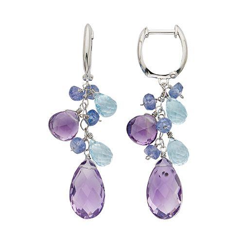 Gemstone 14k White Gold Cluster Drop Earrings