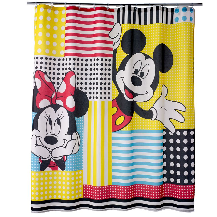 Disney's Mickey & Minnie Mouse Shower Curtain Collection by Jumping Beans®  VIEW LARGER - Disney's Mickey & Minnie Mouse Shower Curtain Collection By