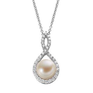 Dyed Freshwater Cultured Pearl & Cubic Zirconia Sterling Silver Teardrop Pendant Necklace