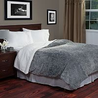 Portsmouth Home Etched Floral Fleece & Sherpa Blanket