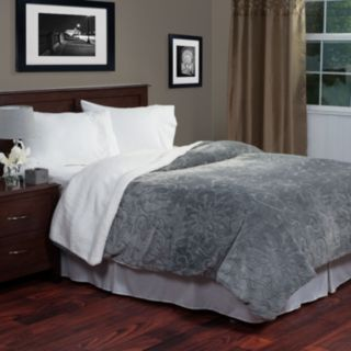 Portsmouth Home Etched Floral Fleece and Sherpa Blanket