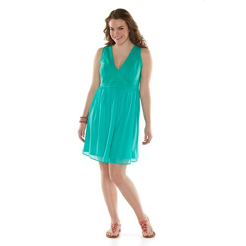 Juniors Plus Size Wrapper Mixed Media Chiffon Dress
