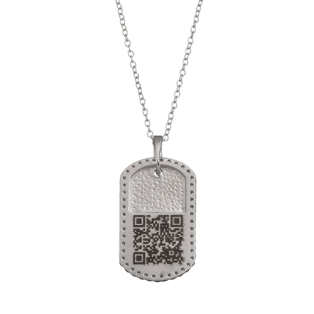 qnotes Cubic Zirconia Sterling Silver Dog Tag Necklace