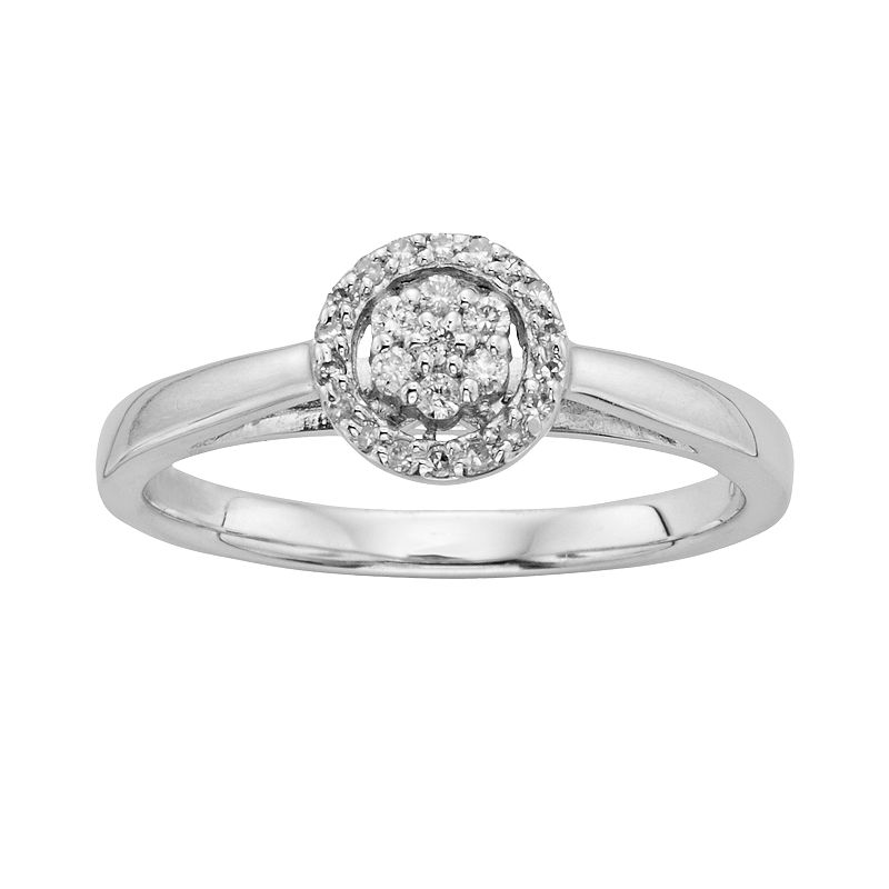 I Promise You Diamond Halo Engagement Ring in Sterling Silver (1/6 Carat T.W.), Women's, White