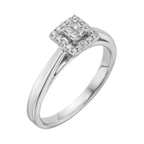 I Promise You Diamond Square Halo Engagement Ring in Sterling Silver (1/6 Carat T.W.)