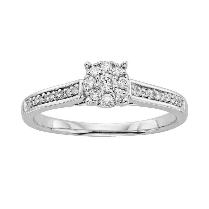 I Promise You Diamond Engagement Ring in Sterling Silver (1/4 Carat T.W.), Women's, Size: 7, White