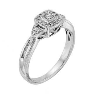 I Promise You Diamond Tiered Halo Engagement Ring in Sterling Silver (1/4 Carat T.W.)
