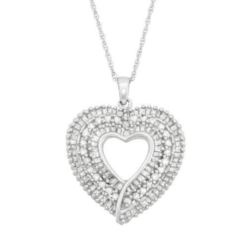 1 Carat T.W. Diamond Sterling Silver Heart Pendant Necklace