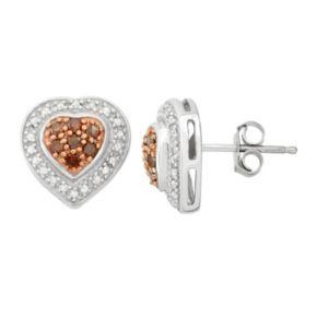 1/4 Carat T.W. Red & White Diamond Sterling Silver Tiered Heart Stud Earrings