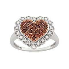 1/2 Carat T.W. Red & White Diamond Sterling Silver Scalloped Heart Ring