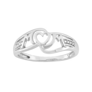"""Diamond Accent Sterling Silver Heart """"Mom"""" Ring"""