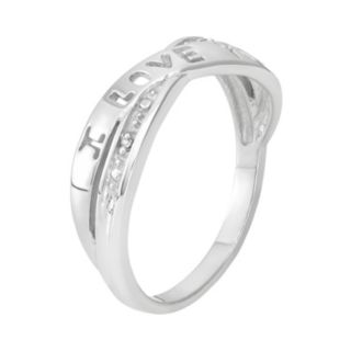 """Diamond Accent Sterling Silver """"I Love You"""" Crisscross Ring"""