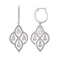 Diamond Essence Sterling Silver Chandelier Earrings - Made with Swarovski Crystals