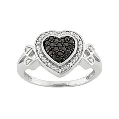 1/4 Carat T.W. Black & White Diamond Sterling Silver Heart Halo Ring