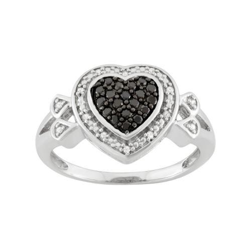 1/4 Carat T.W. Black & White Diamond Sterling Silver Heart Halo Ring