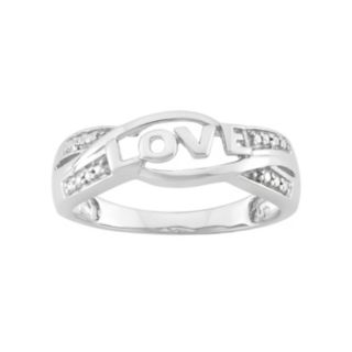 """Diamond Accent Sterling Silver """"Love"""" Ring"""