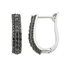 1 Carat T.W. Black Diamond Sterling Silver U-Hoop Earrings