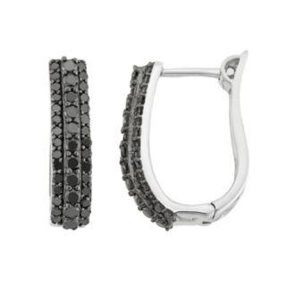 1 Carat T.W. Black Diamond Sterling Silver U-Hoop Earrings