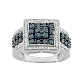 1 Carat T.W. Blue & White Diamond Sterling Silver Square Frame Ring