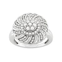 1 Carat T.W. Diamond Sterling Silver Flower Ring