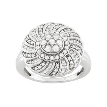 1 Carat T.W. Diamond Sterling Silver Flower Ring