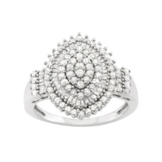 1 Carat T.W. Diamond Sterling Silver Marquise Ring