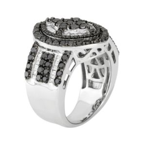 2 Carat T.W. Black & White Diamond Sterling Silver Marquise Ring
