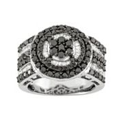 2 Carat T.W. Black & White Diamond Sterling Silver Circle Ring
