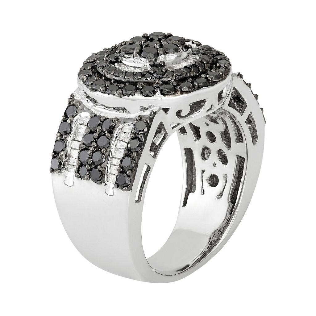 2 Carat T.W. Black & White Diamond Sterling Silver Circle Ring
