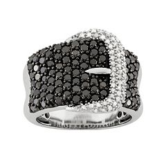 2 Carat T.W. Black & White Diamond Sterling Silver Buckle Ring