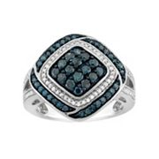 1 Carat T.W. Blue & White Diamond Sterling Silver Square Ring