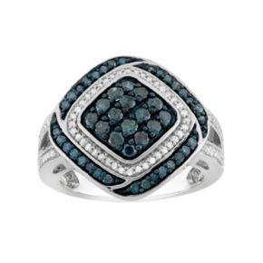 1 Carat T.W. Blue & White Diamond Sterling Silver Square Ring