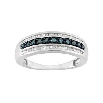 1 Carat T.W. Blue & White Diamond Sterling Silver 3-Row Ring
