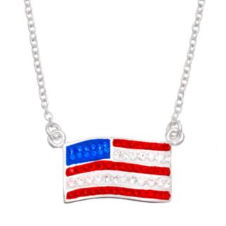 Crystal Silver-Plated American Flag Necklace