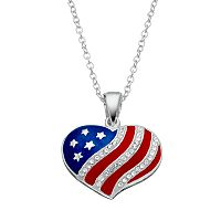 Crystal Silver-Plated American Flag Heart Pendant Necklace