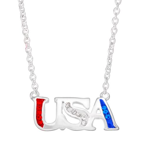 """Crystal Silver-Plated """"USA"""" Necklace"""