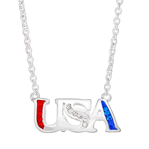 "Crystal Silver-Plated ""USA"" Necklace"
