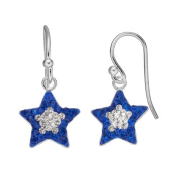 White & Blue Crystal Silver-Plated Star Drop Earrings