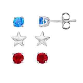 Red & Blue Crystal Silver Tone Star Stud Earring Set