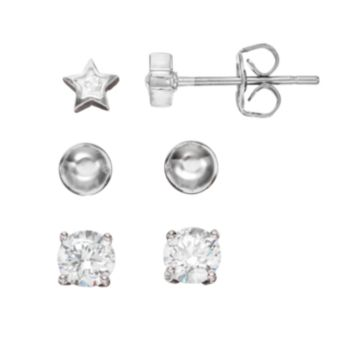 Crystal Silver Tone Star & Ball Stud Earring Set