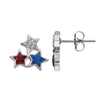 Red, White & Blue Crystal Silver Tone Star Stud Earrings