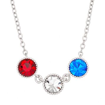 Red, White & Blue Crystal Silver Tone Necklace