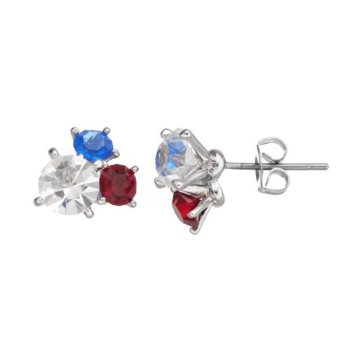 Red, White & Blue Crystal Silver Tone Cluster Stud Earrings