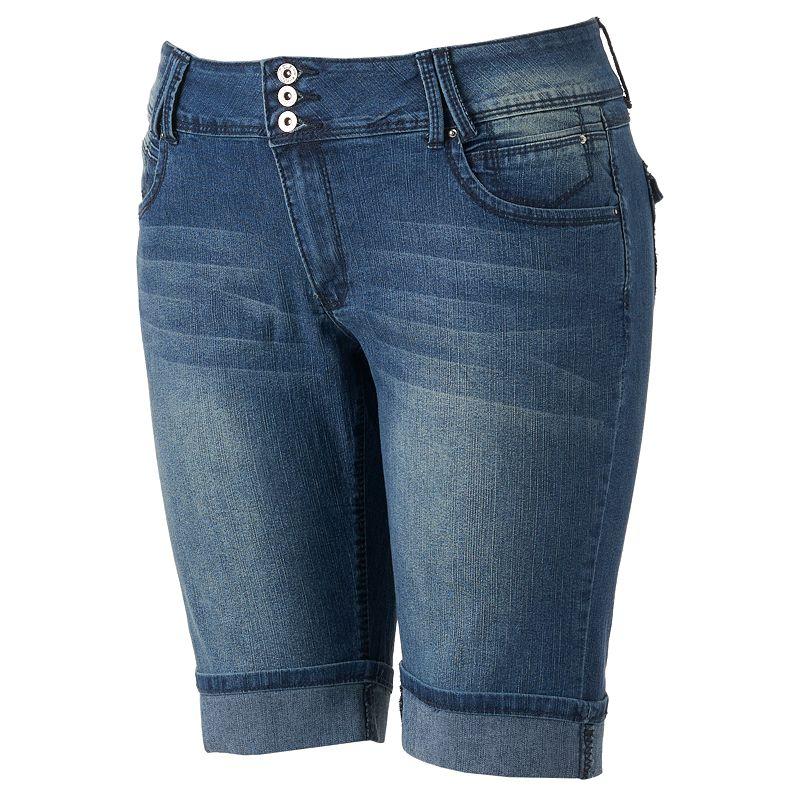 Angels 3-Button Bermuda Shorts - Juniors' Plus